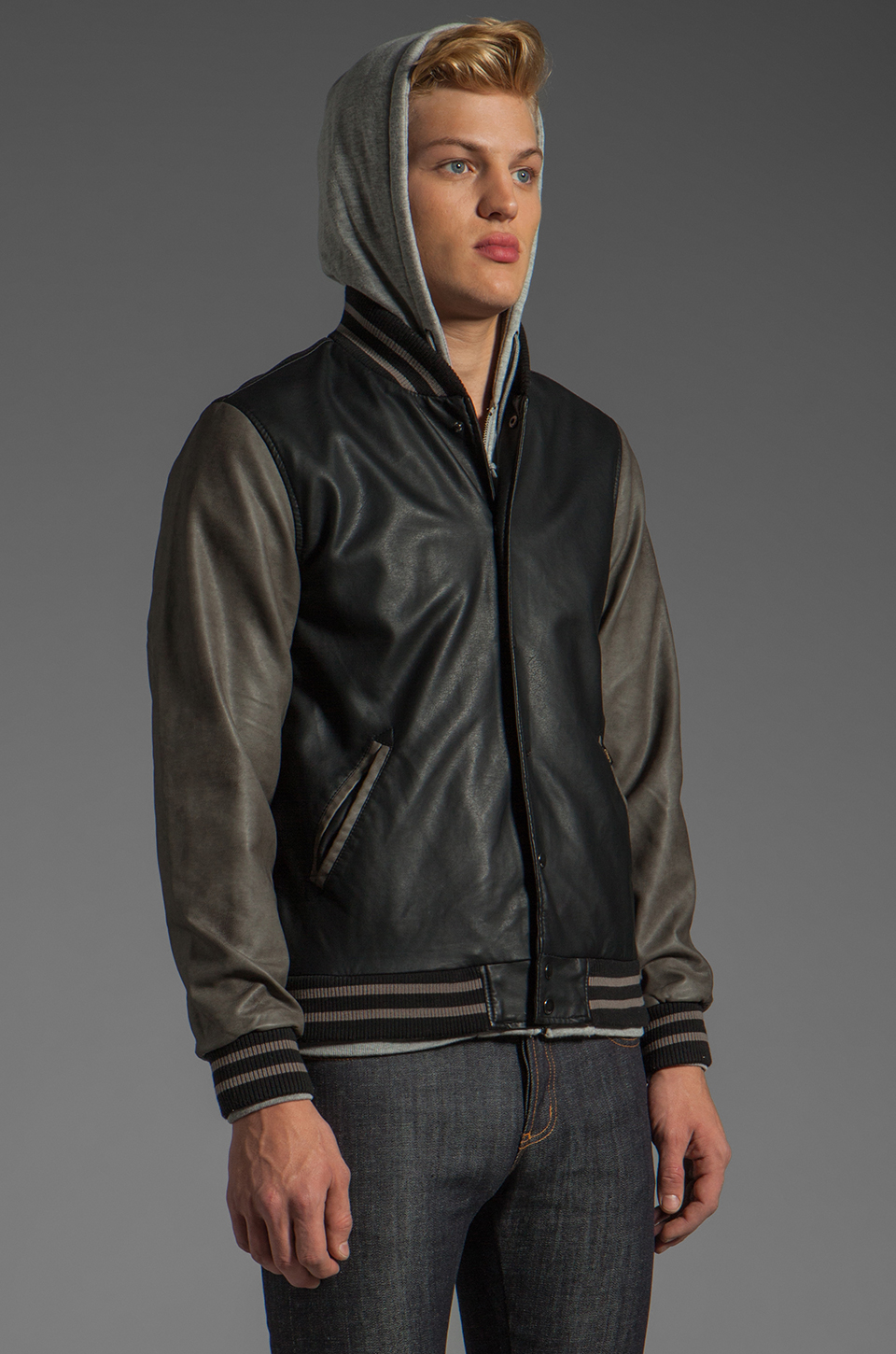 Jacket with; Obey Varsity Hooded Leather