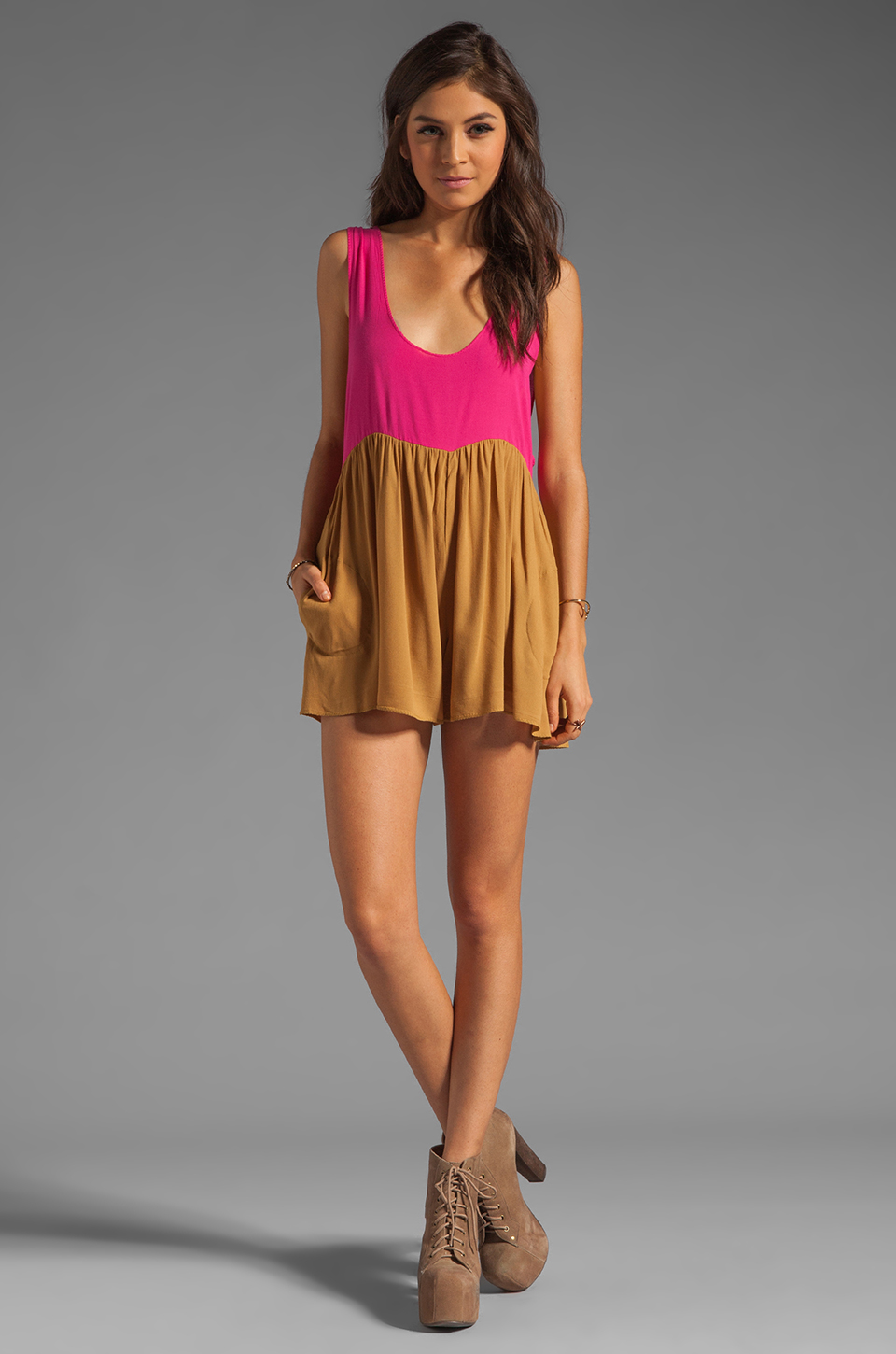 One Teaspoon Heartbreaker Cali Colorblock Mini Romper in Hot Pink/Tobacco