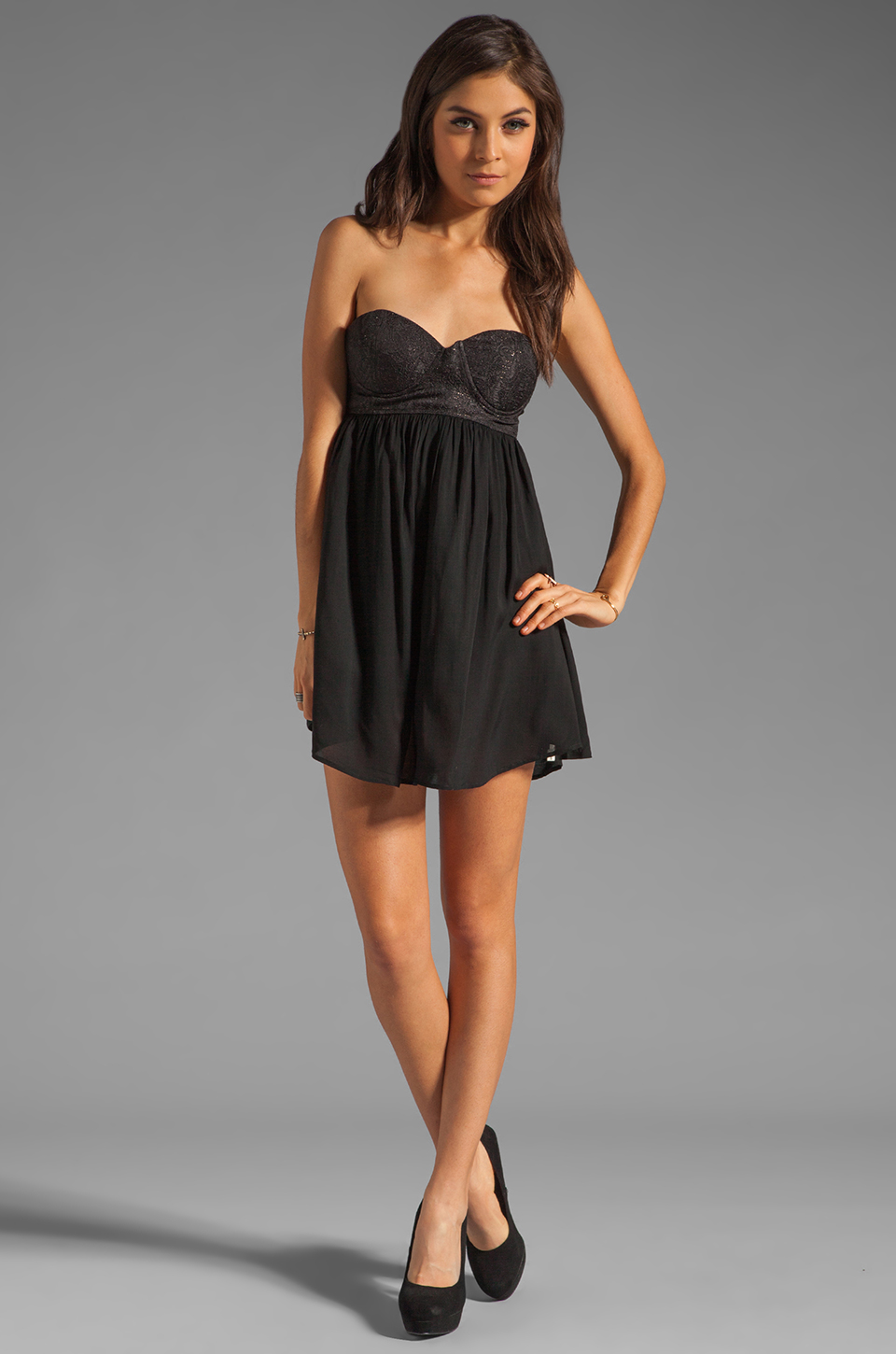 One Teaspoon Nickels and Dimes Sequin Bustier Mini Dress in Black
