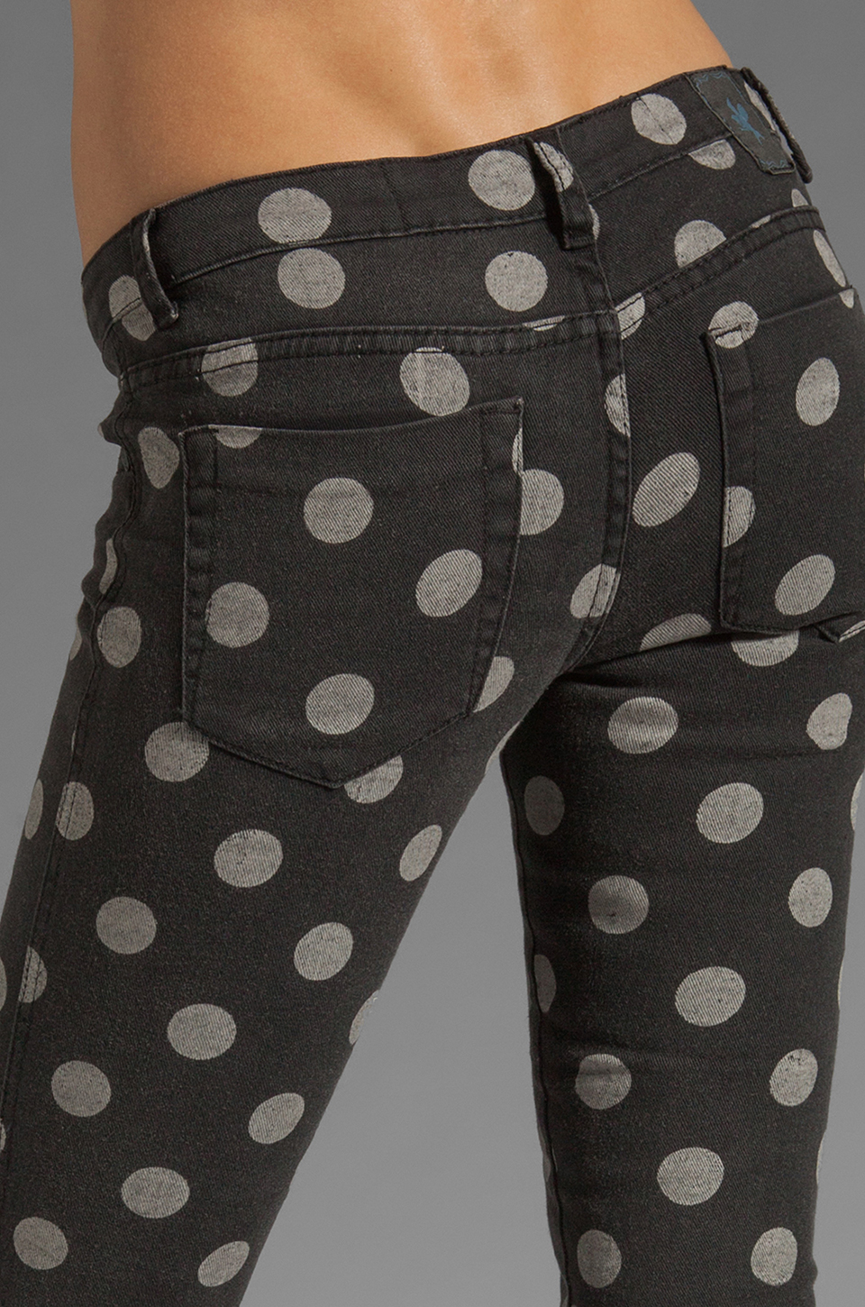 One Teaspoon Polka Iggys Low Waist Polka Dot Stretch Denim Skinny in Smoke