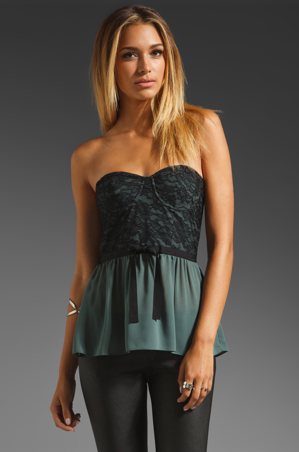 Paper Crown by Lauren Conrad Katherine Lace Top in Black/Pine