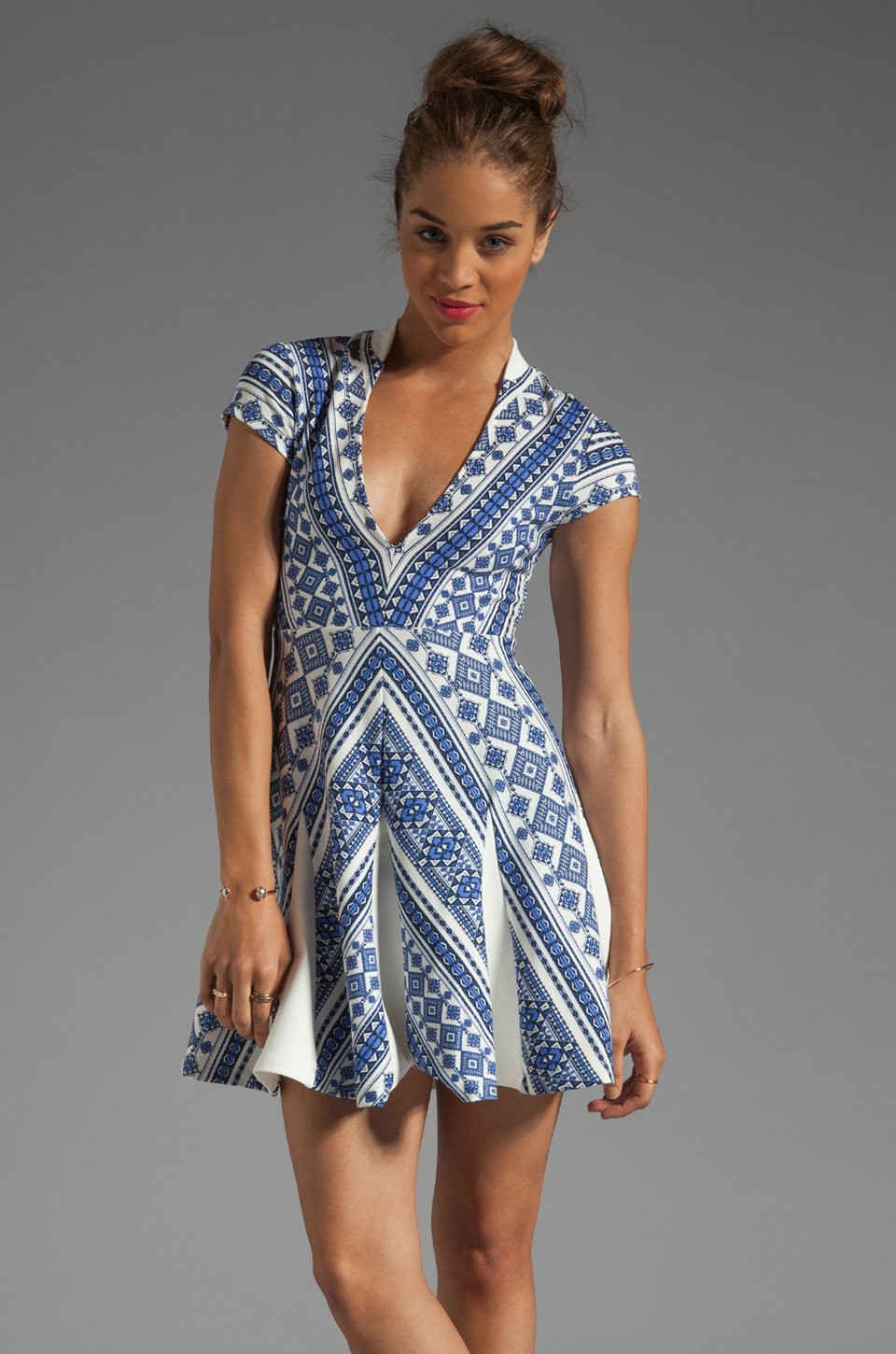 Pencey Deep V Dress in Blue
