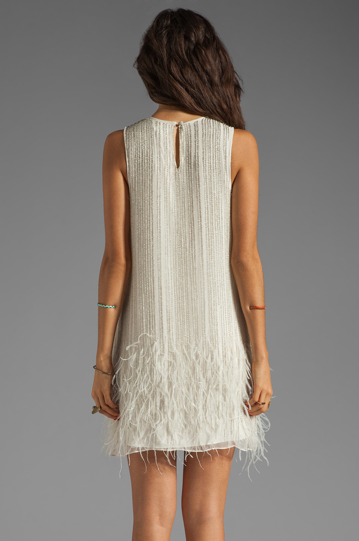 allegra feather beaded dress in linen revolve