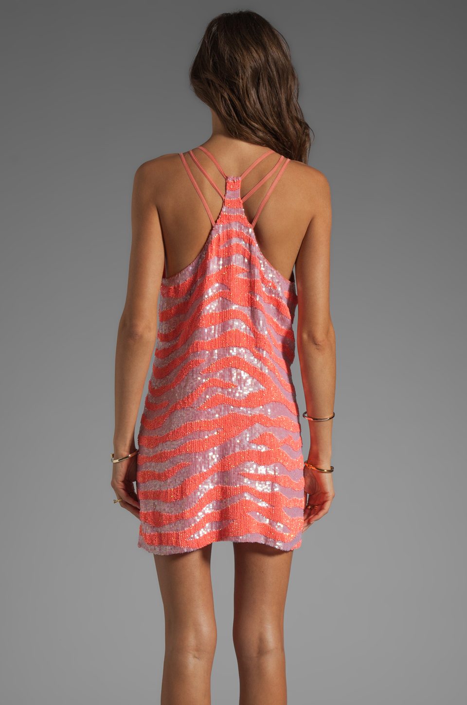 Parker Tonal Zebra Sage Dress in Grapefruit
