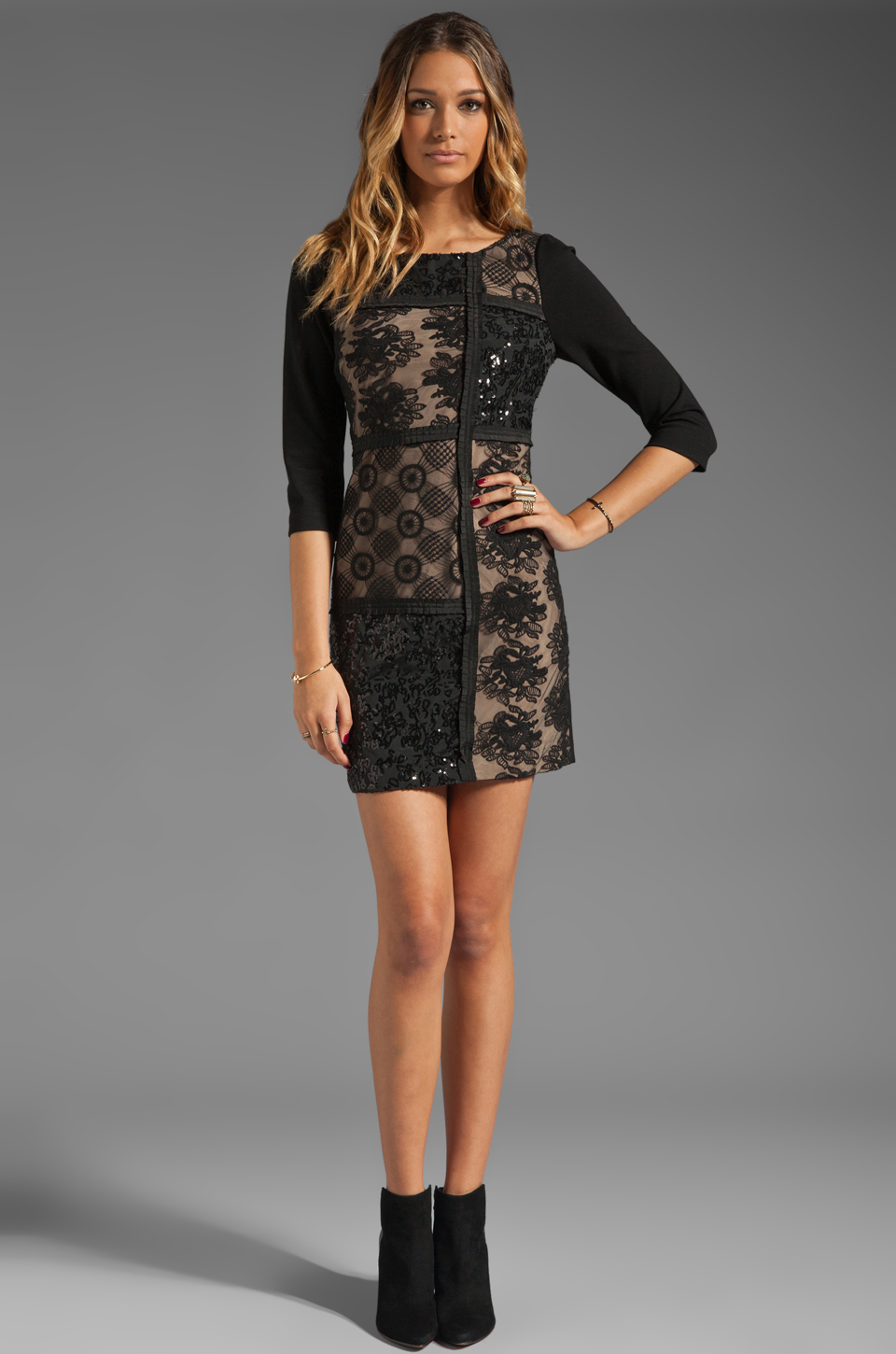 Plenty by Tracy Reese Patchwork Lace Front Shift Dress in Black/Silver