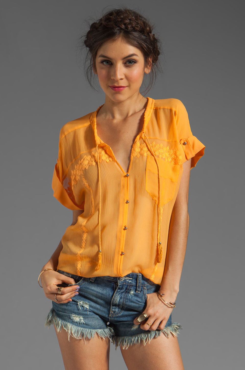 Plenty by Tracy Reese Soft Solids Tie Neck Blouse in Bird of Paradise