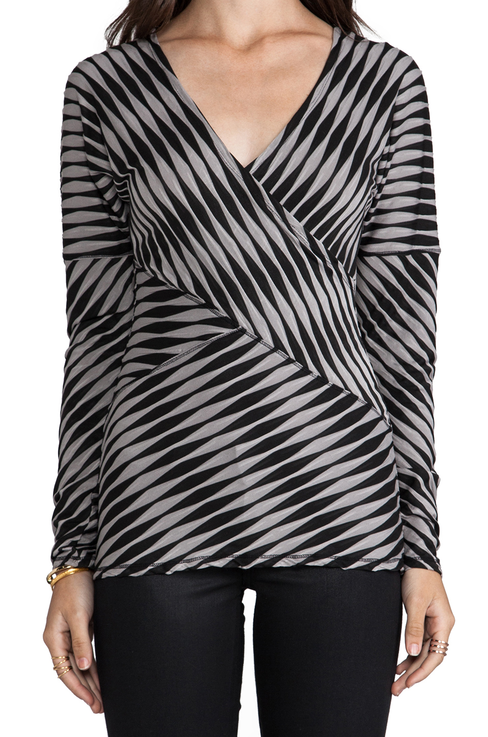 Plenty by Tracy Reese Novelty 2 Tone Twist Jersey Directional T in Pewter