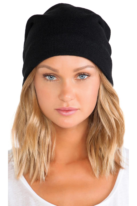 Plush Barca Slouchy Hat w/ Fleece Lining in Black