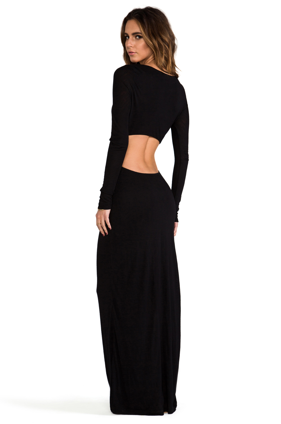 Pencey Standard EXCLUSIVE Long Sleeve Open Back Maxi Dress in Black