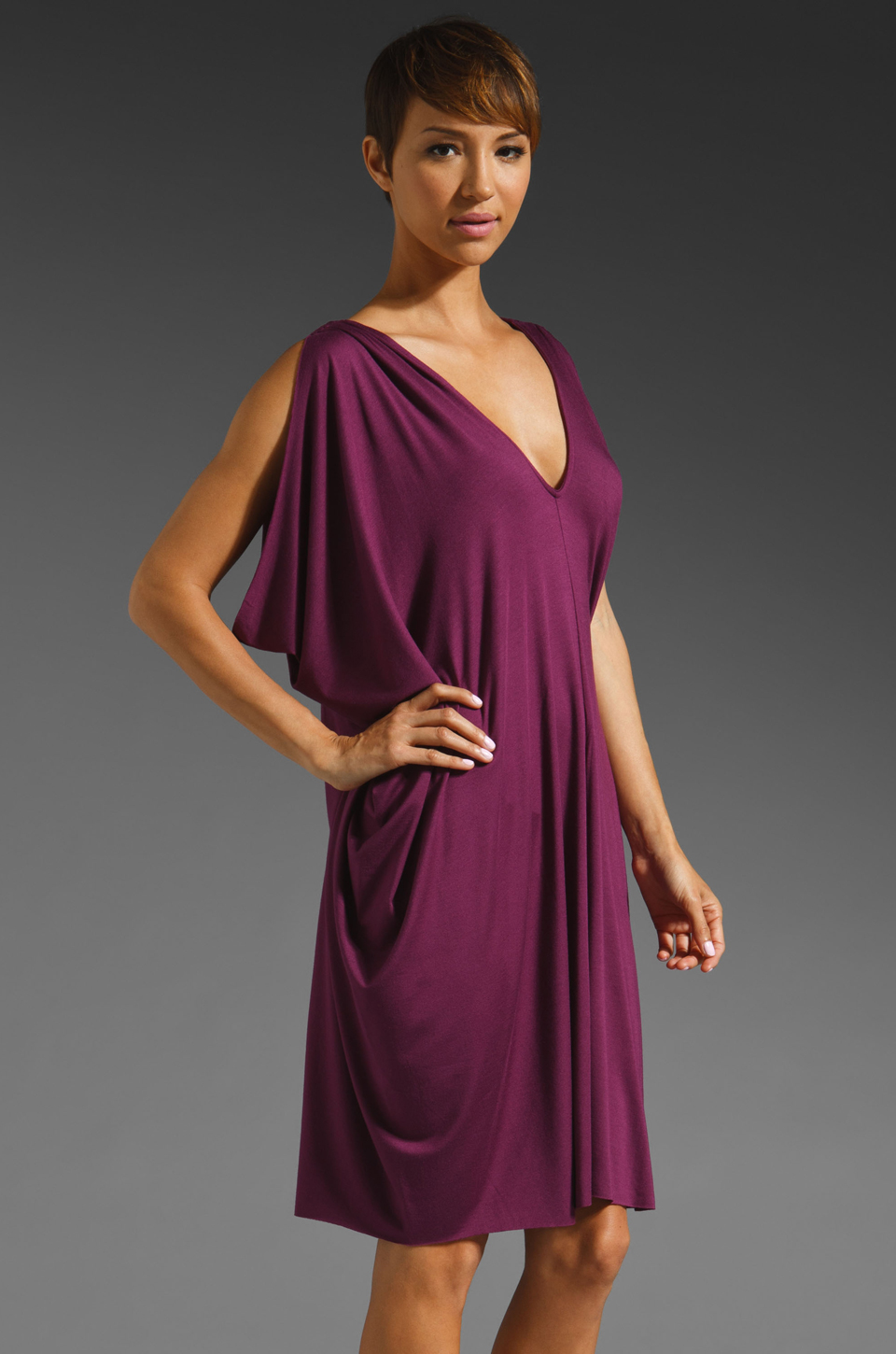 Rachel Pally Barret Drape Dress in Bordeaux
