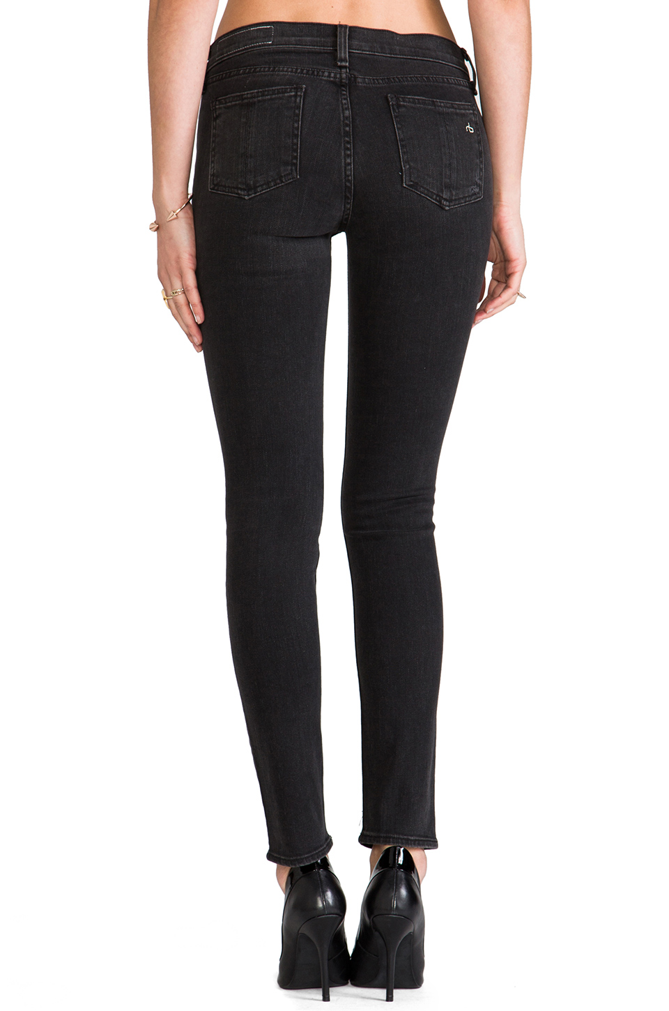 rag & bone/JEAN Slim Fit Skinny in Rock with Holes
