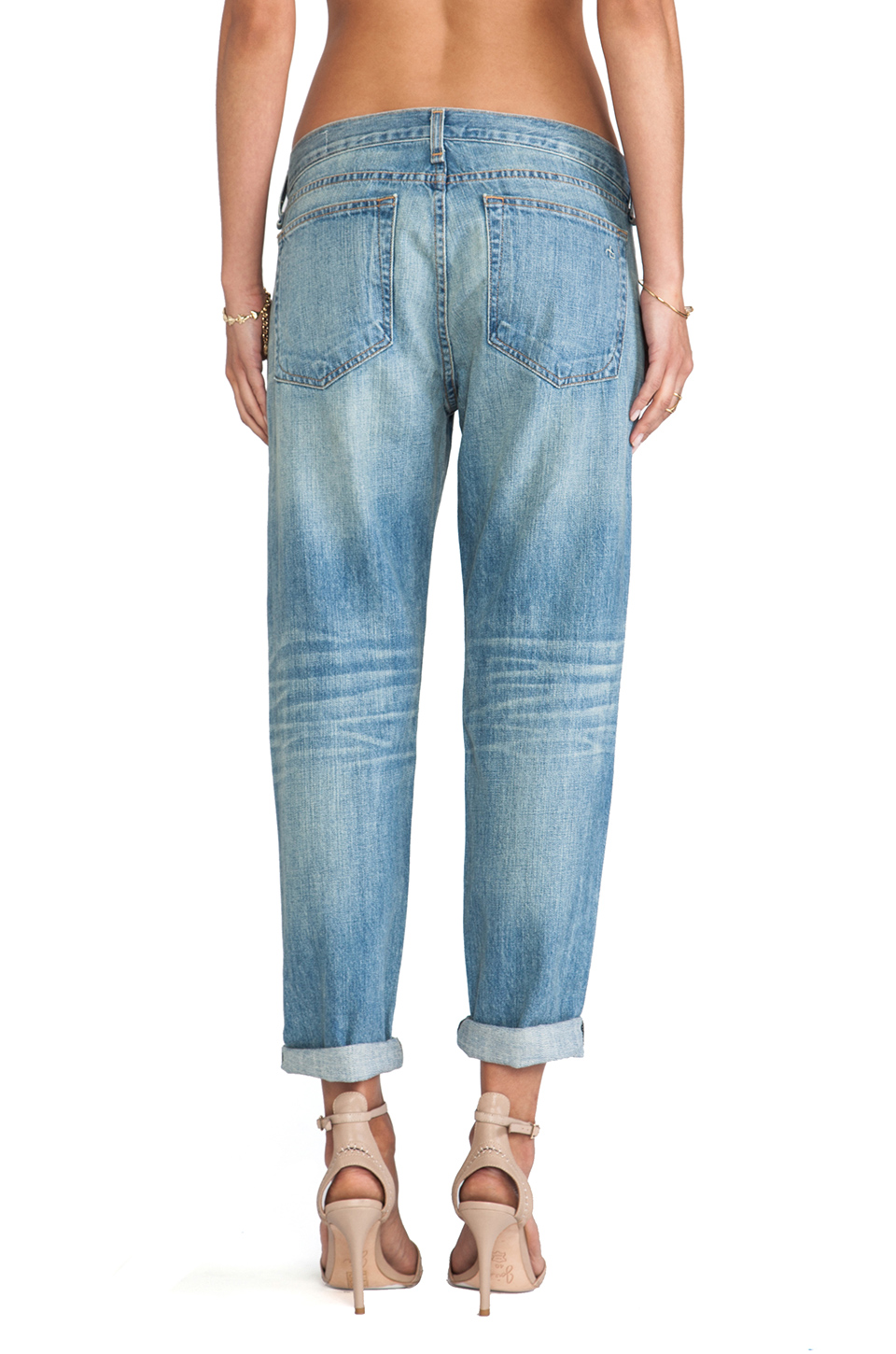 rag & bone/JEAN Boyfriend Jean in Moss with Holes