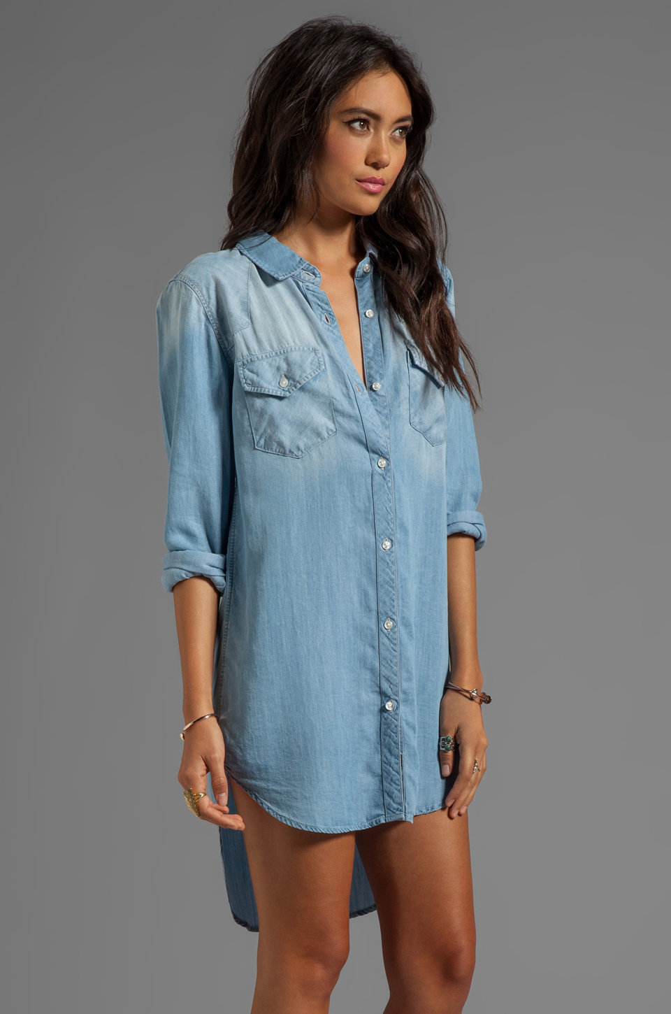 Rails Kyley Tencel Denim Tunic Dress in Light Blue