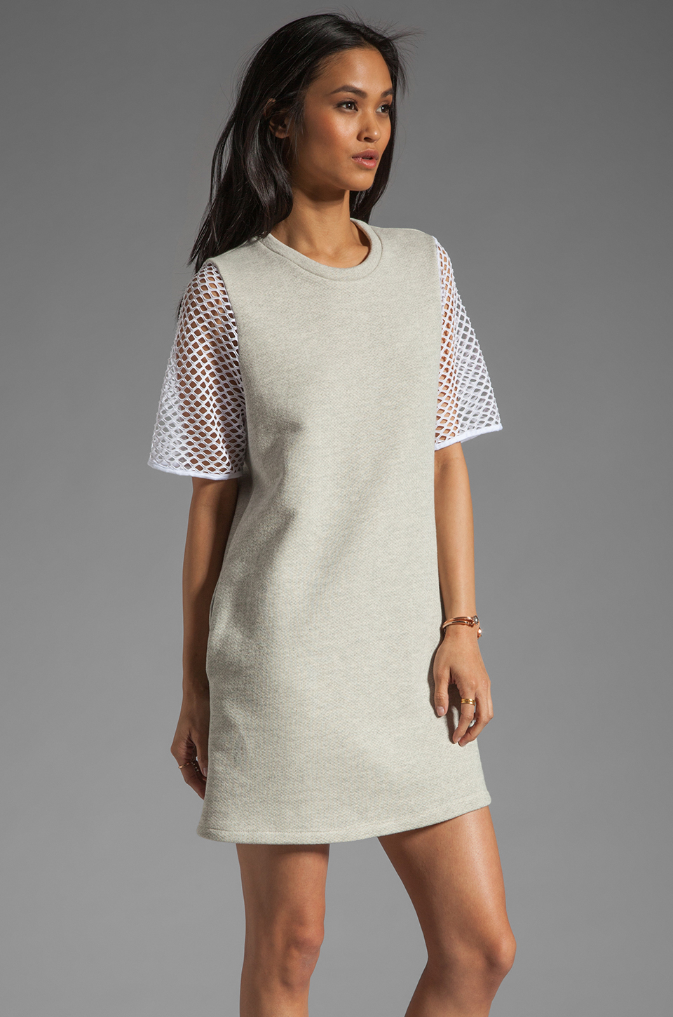 Riller & Fount Yasmin Short Sleeve Tunic in Dove/White Fishnet