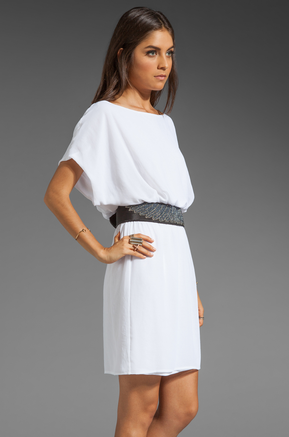 Rory Beca Harvey Beaded Belt Dress in Pillow