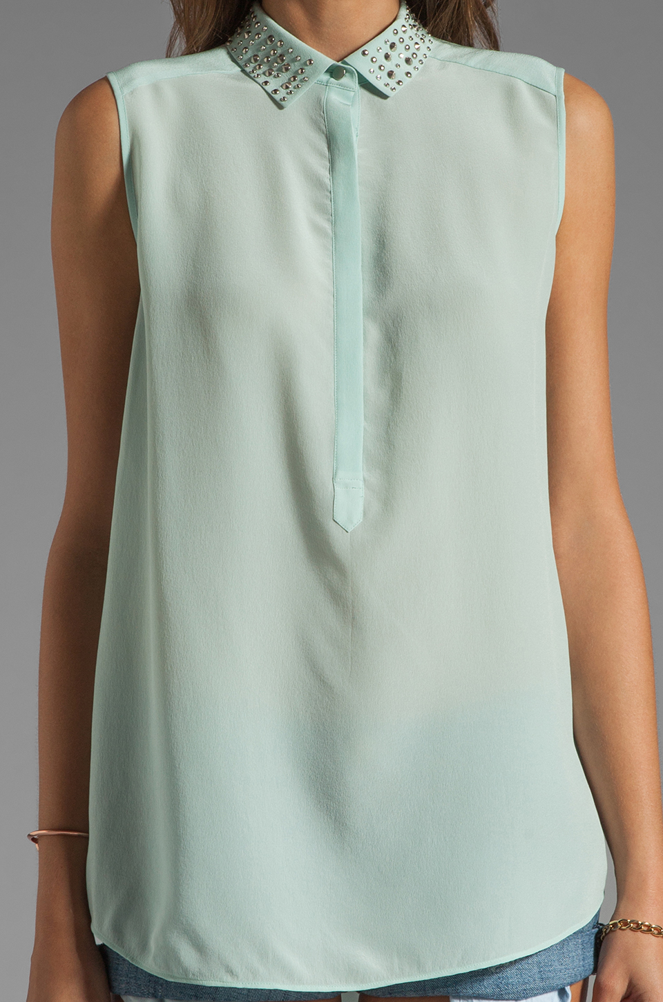 Rebecca Taylor Beaded Collar Top in Mist
