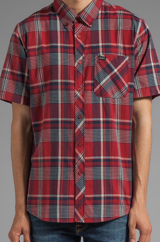 RVCA Nettle Short Sleeve Shirt in Deep Henna