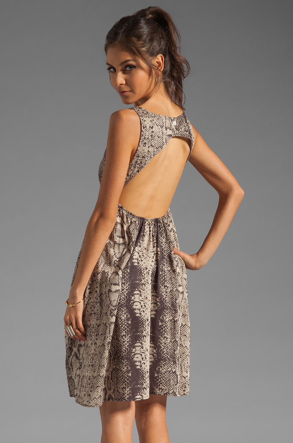RVCA Drench Cut Out Dress in Feather Grey