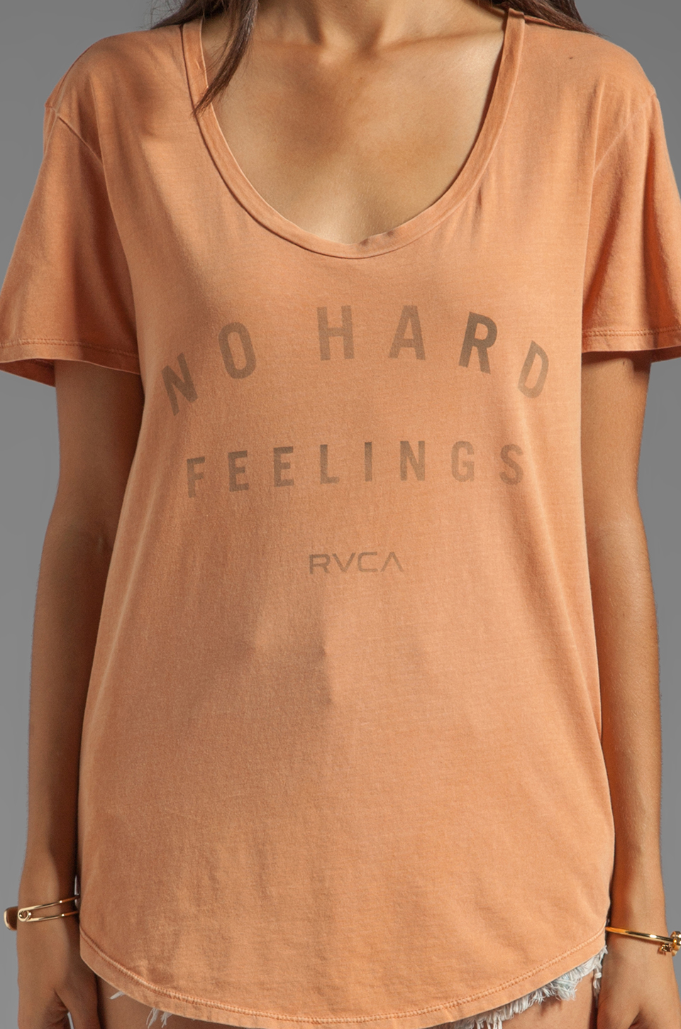 RVCA No Hard Feelings S/S Jersey Graphic Tee in Rum