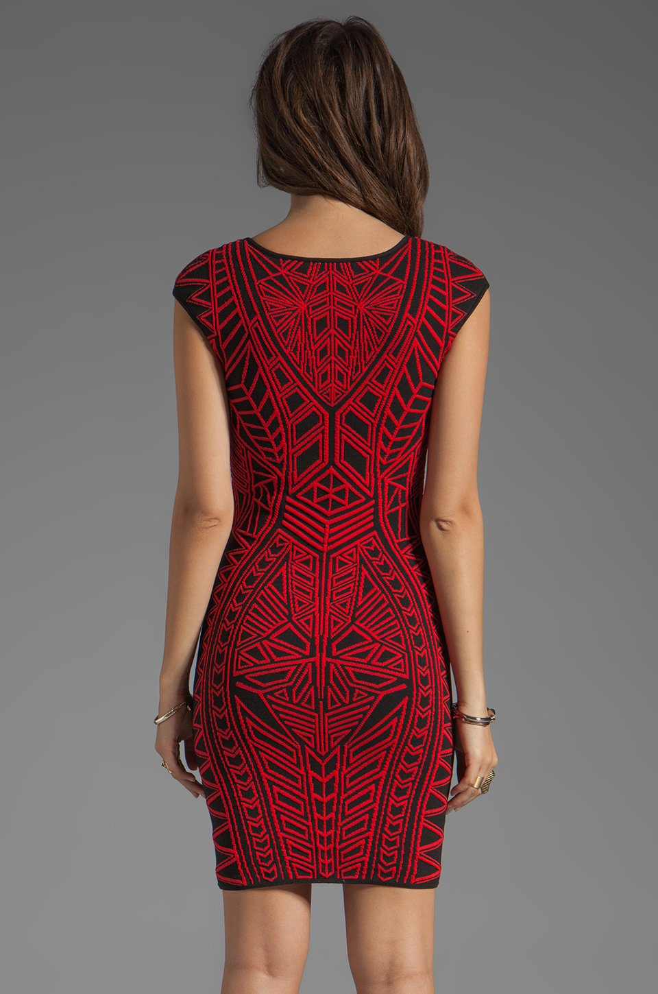 RVN Abstract Jacquard Mini Dress in Red/Black