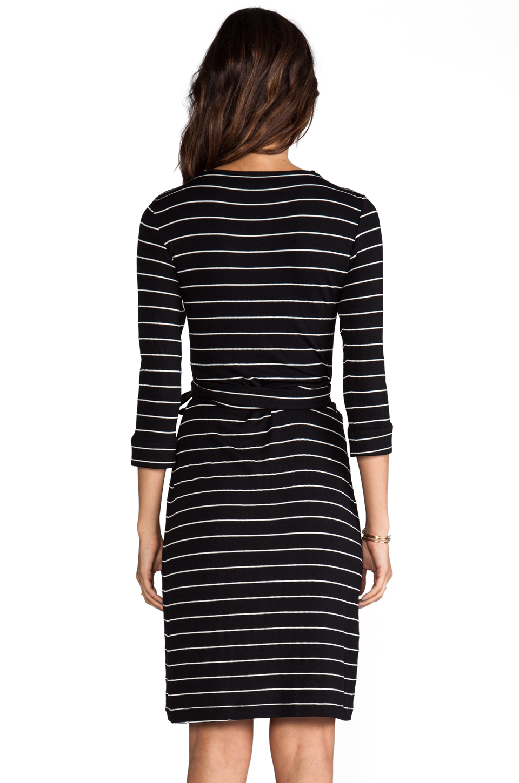 Saint Grace Moby Dylana Stripe Wrap Dress in Black/White