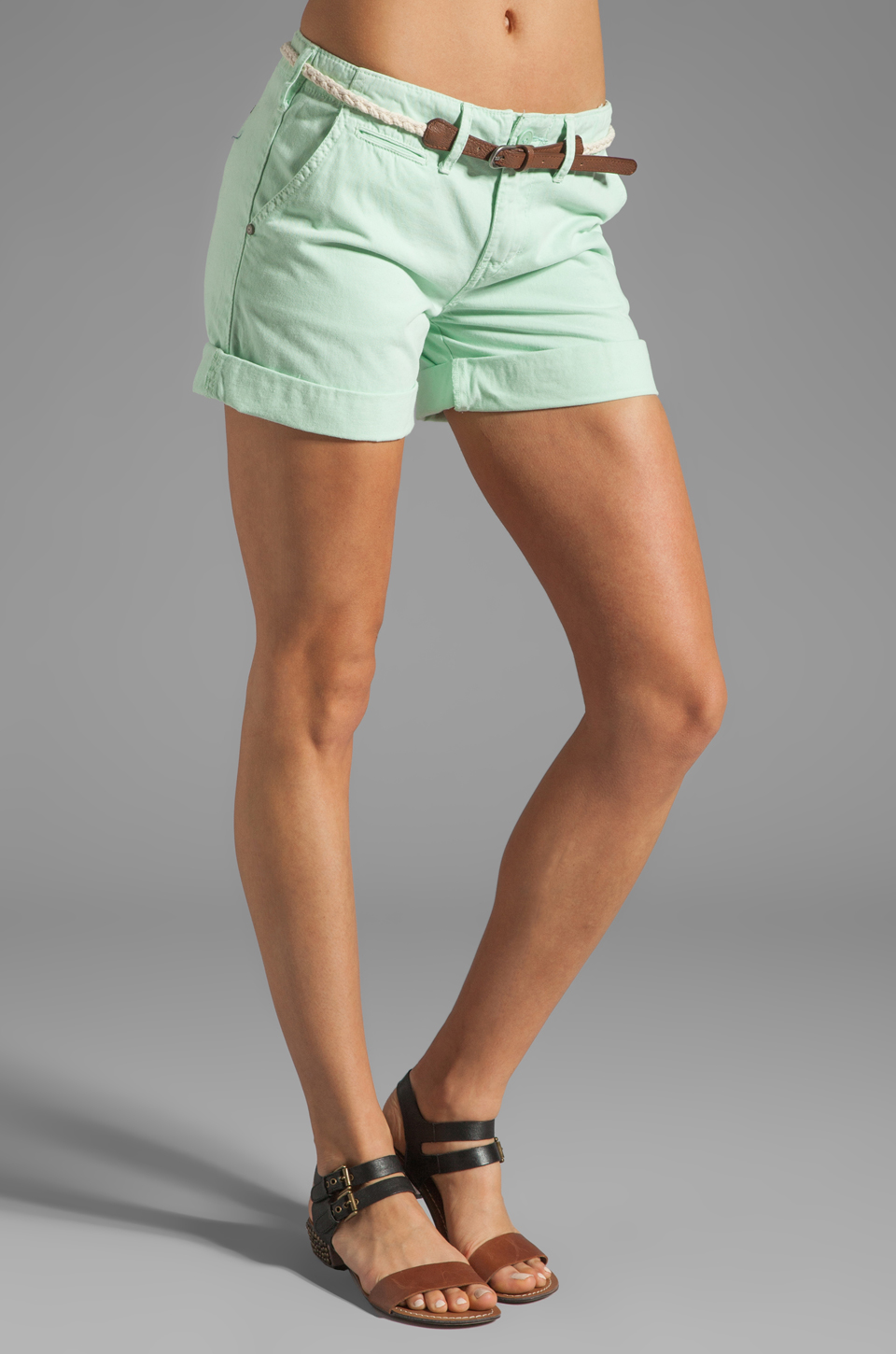 Sanctuary Liberty Roll Short with Belt in Mint