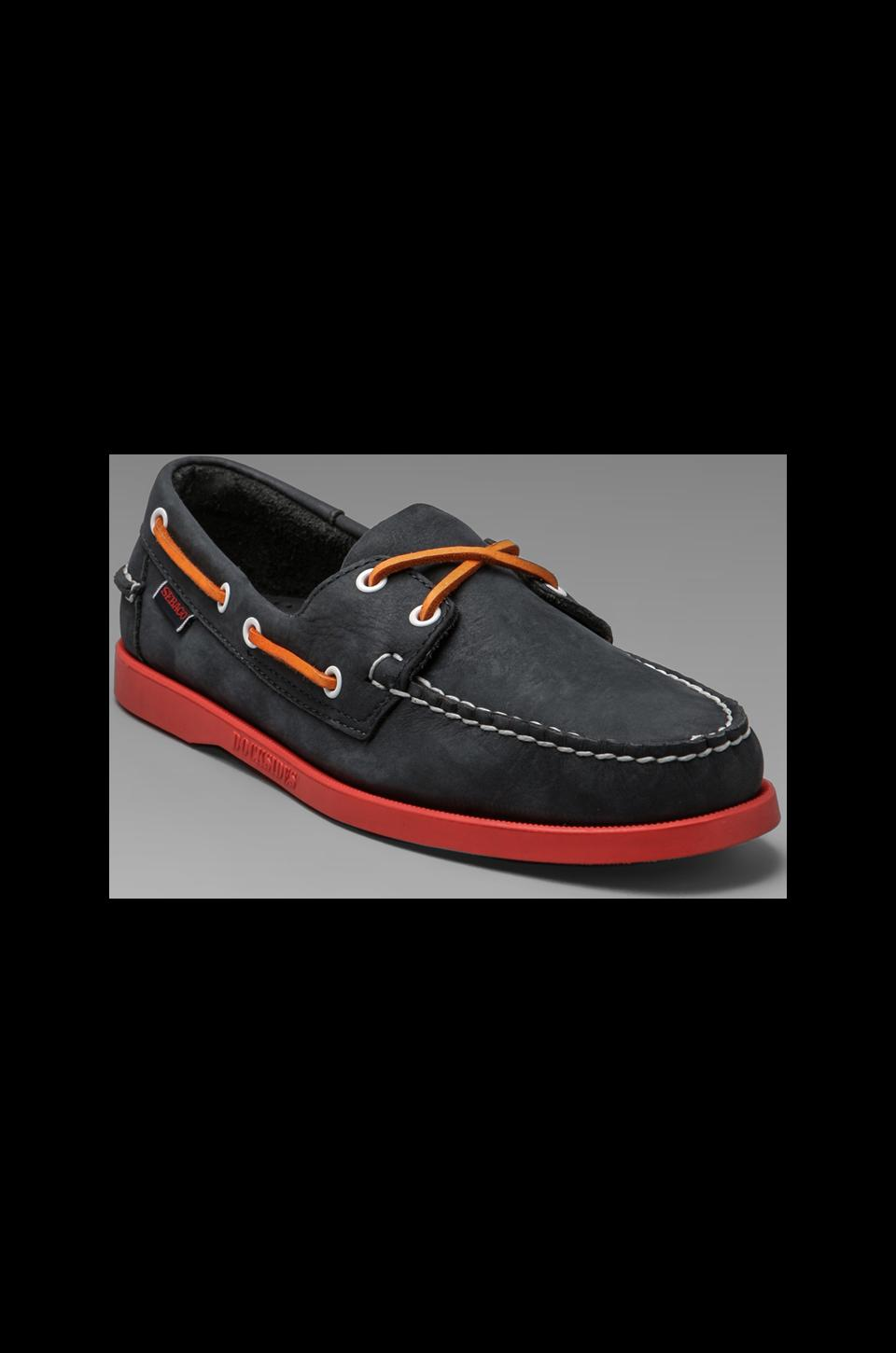 Sebago Docksides in Navy/Red Outsole