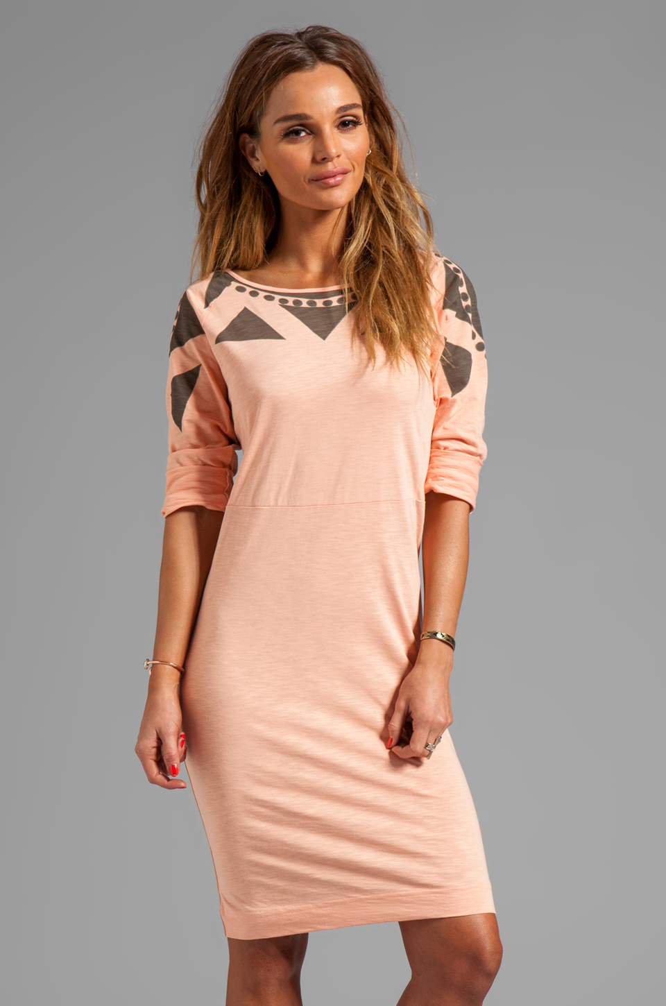 See By Chloe Long Sleeve Tee Shirt Dress in Grey/Beige