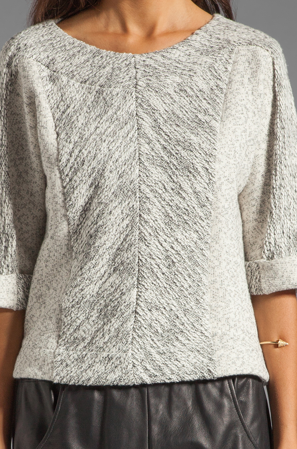 See By Chloe Long Sleeve Wide Neck Jacket in Dark Grey