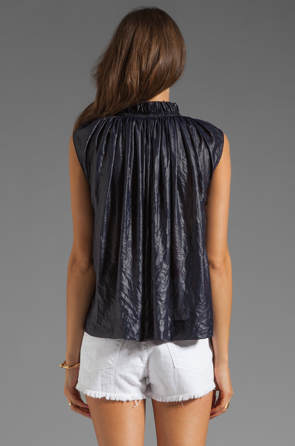 See By Chloe Gathered Blouse in Navy