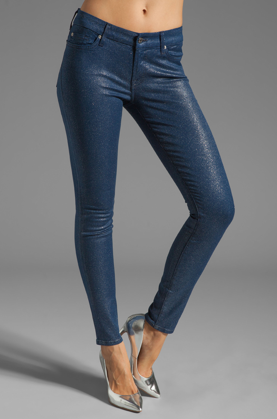 7 For All Mankind The Skinny in Midnight Navy Glitter