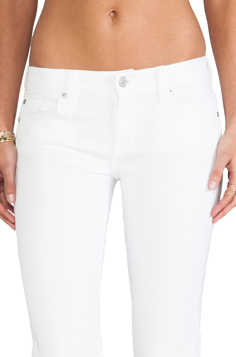 7 For All Mankind Skinny Crop & Roll in Clean White