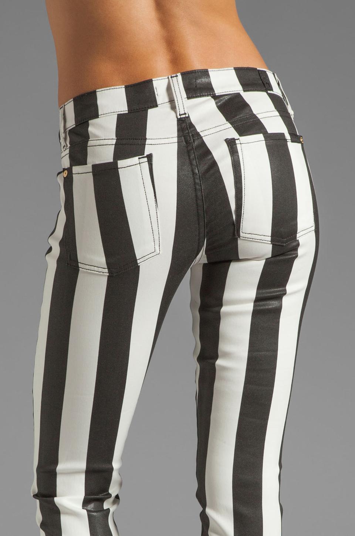 7 For All Mankind Crop Slim Cigarette in Black & White Stripe