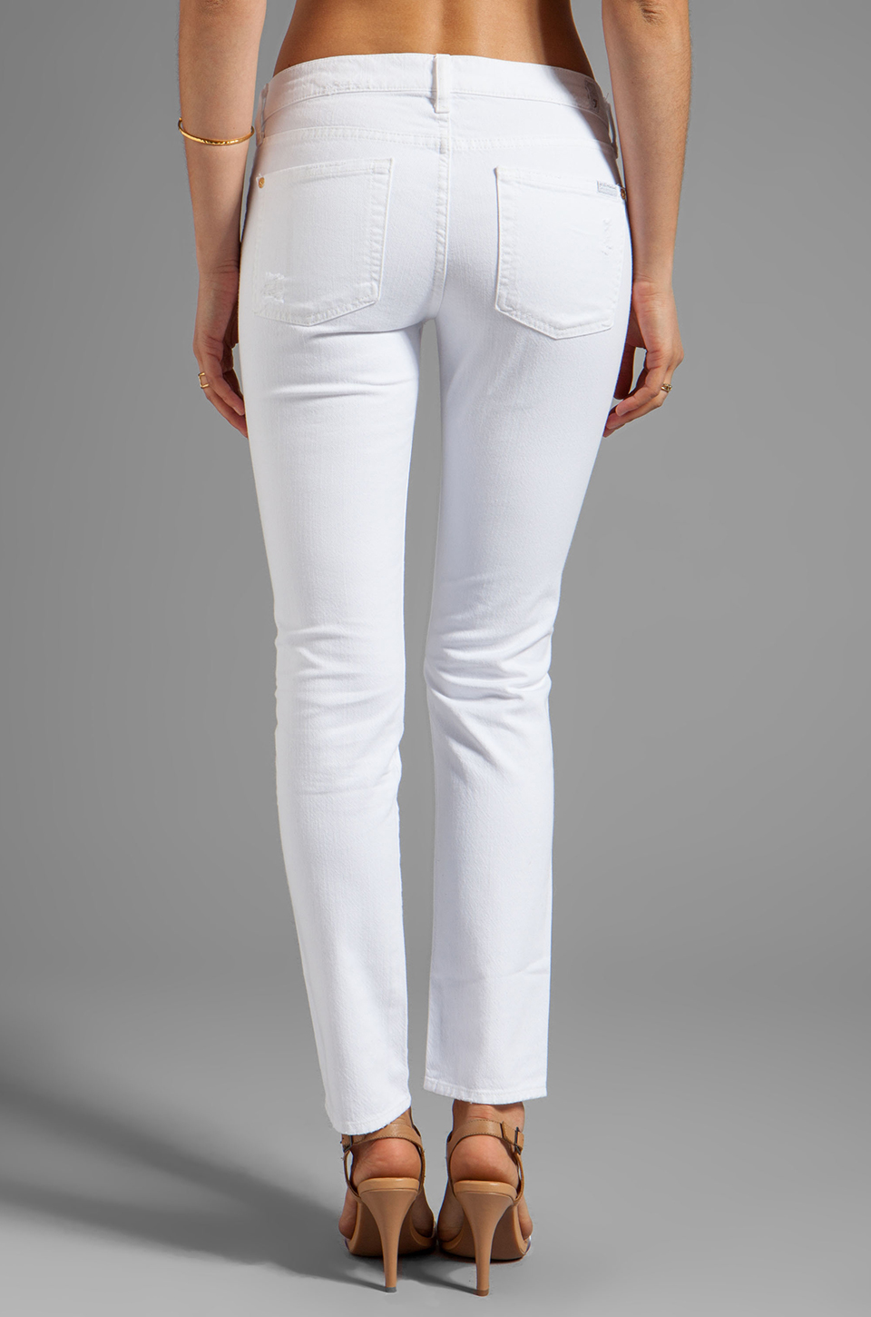 7 For All Mankind The Slim Cigarette in White Destroyed