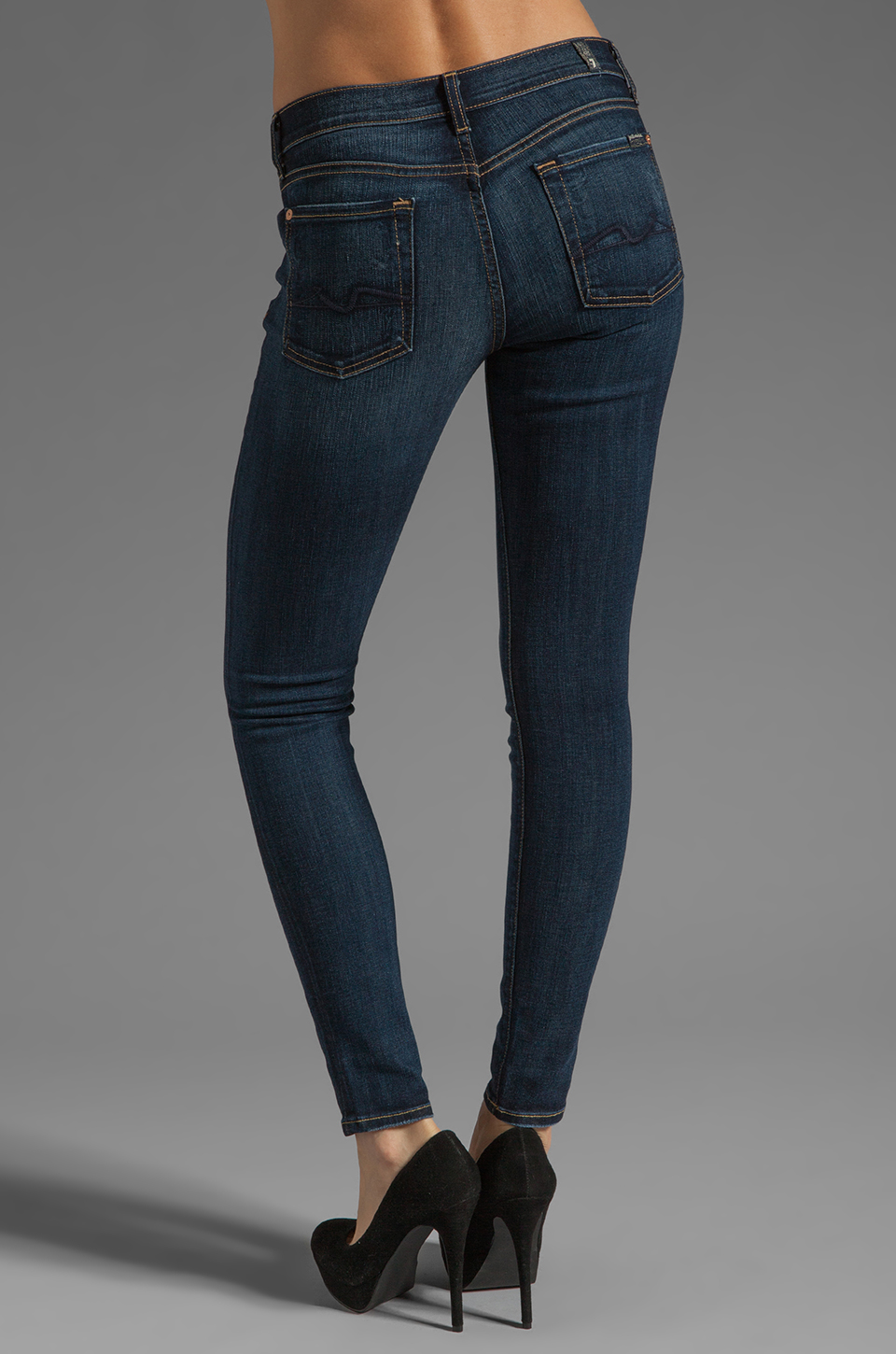7 For All Mankind The Skinny with Squiggle in Genuine Dark Blue