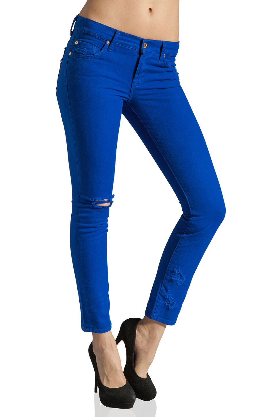 7 For All Mankind The Slim Cigarette in Electric Blue Destroyed