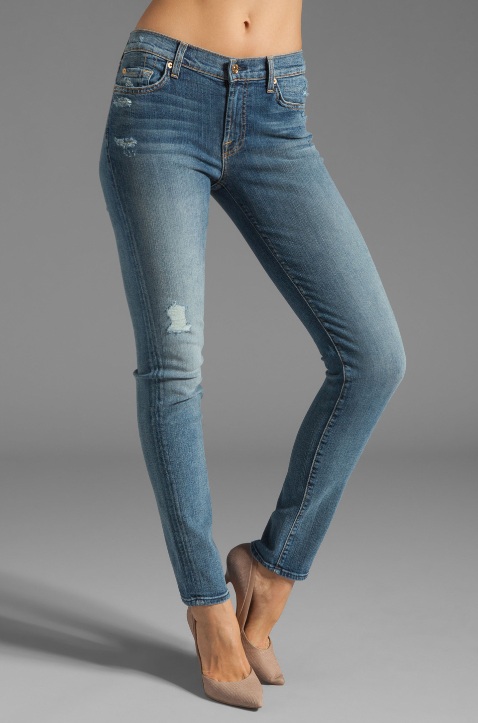 7 For All Mankind The Slim Cigarette with Distress in Light Blue Distressed 2