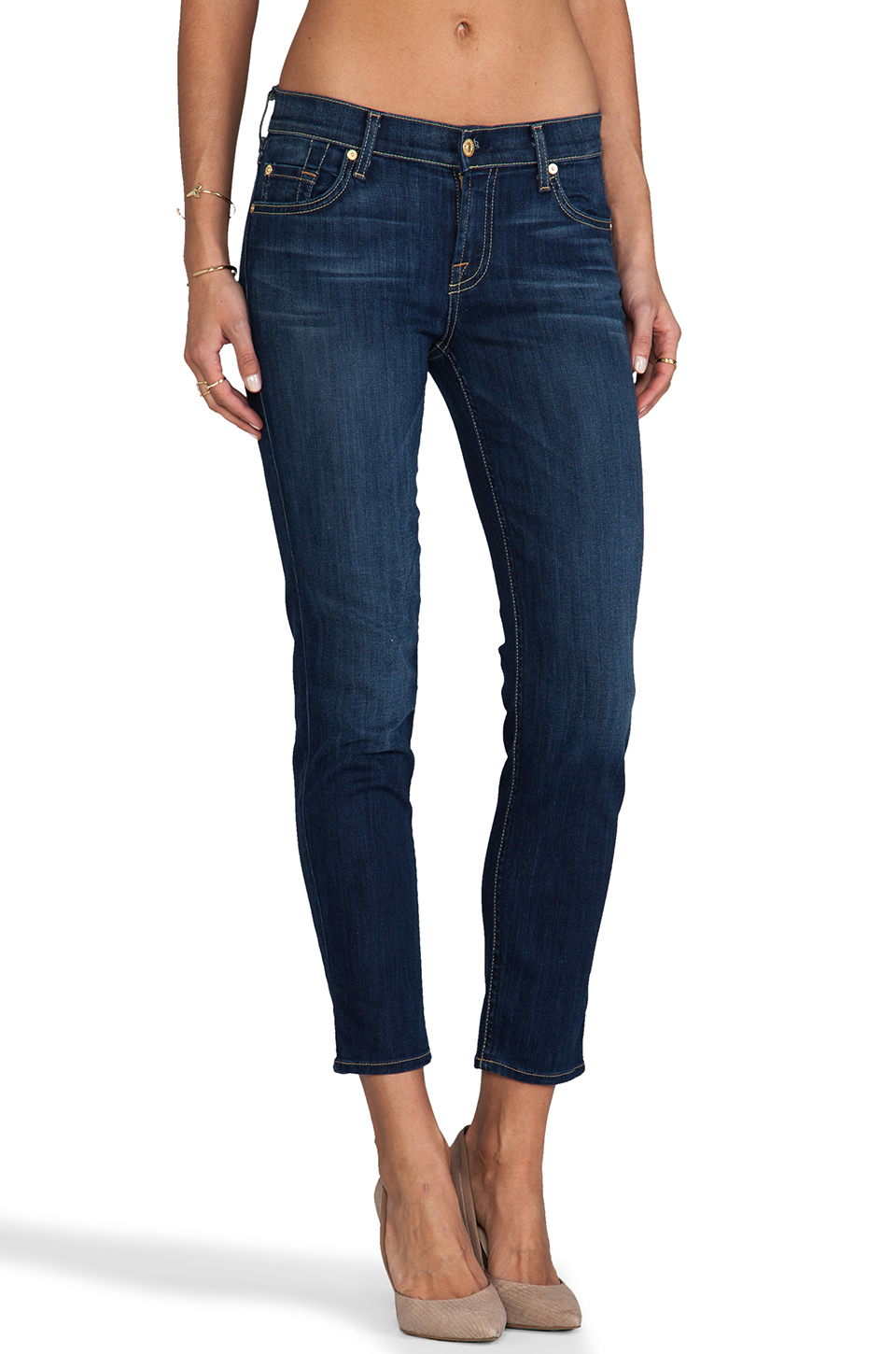 7 For All Mankind Crop Slim Cigarette in Radiant Medium Blue