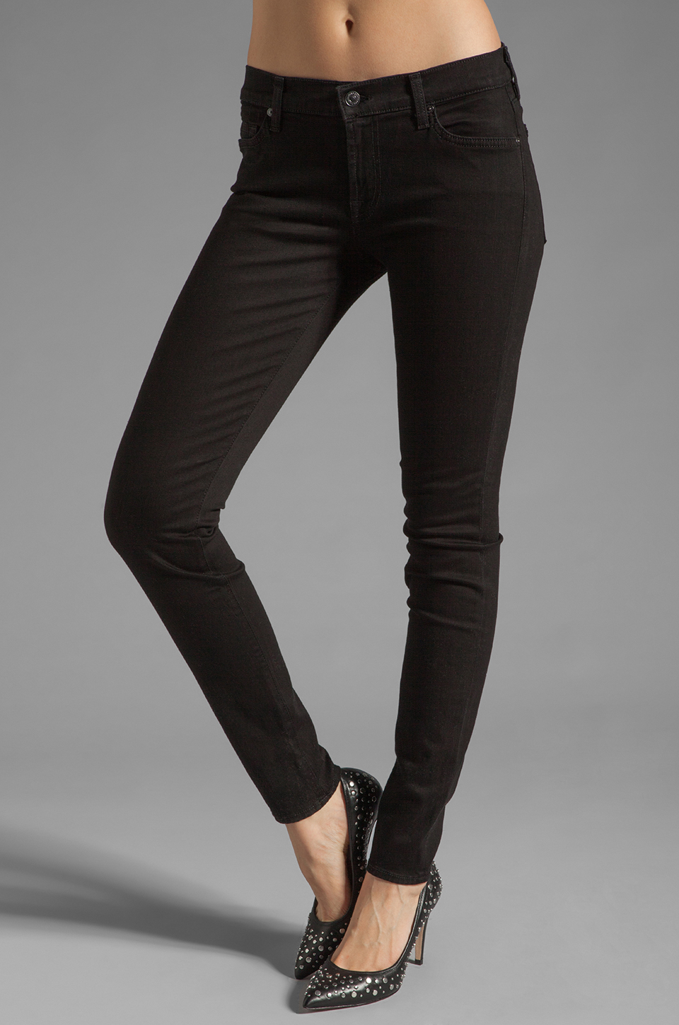 7 For All Mankind The Skinny in Clean Black