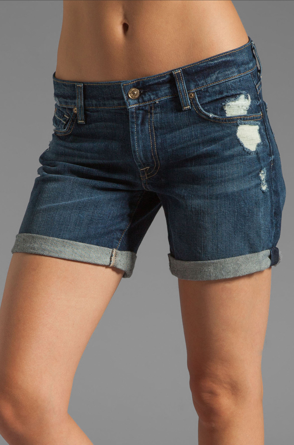 7 For All Mankind Mid Roll Up Short in Rich Dark Destroyed