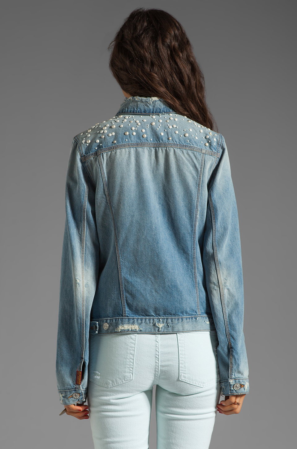 7 For All Mankind 7 For All Mankind Denim Jacket with Pearls in Light Destroyed