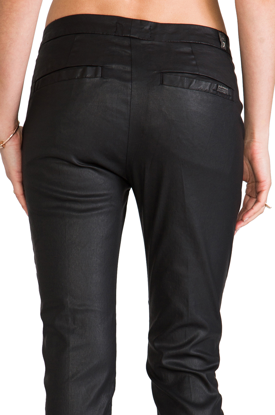 7 For All Mankind Slim Chino in Coated Black