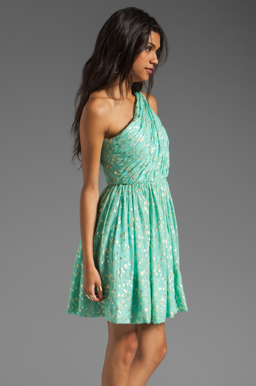 Shoshanna Rayna Dress in Aqua/Gold