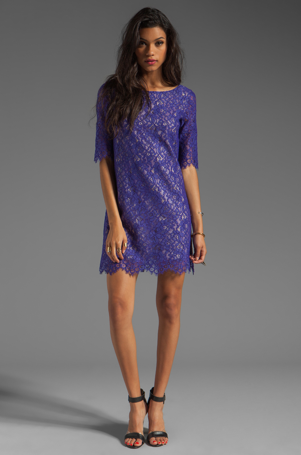 Shoshanna Lace Lisa Shift Dress in Amethyst