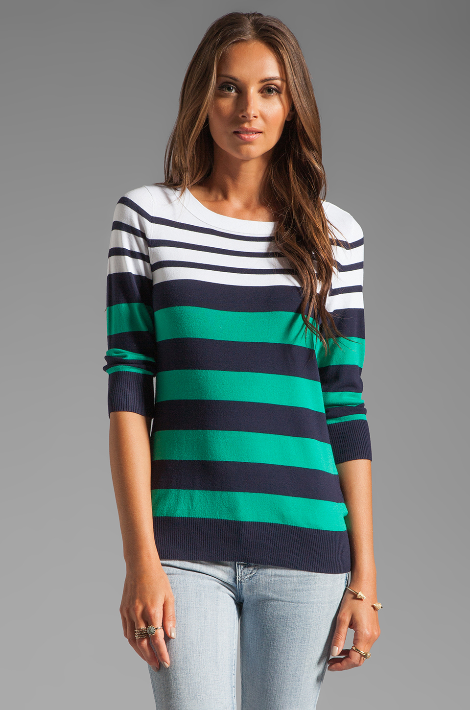 Shoshanna Striped Caroline Marioniere Sweater in Ivory/Jade/Navy
