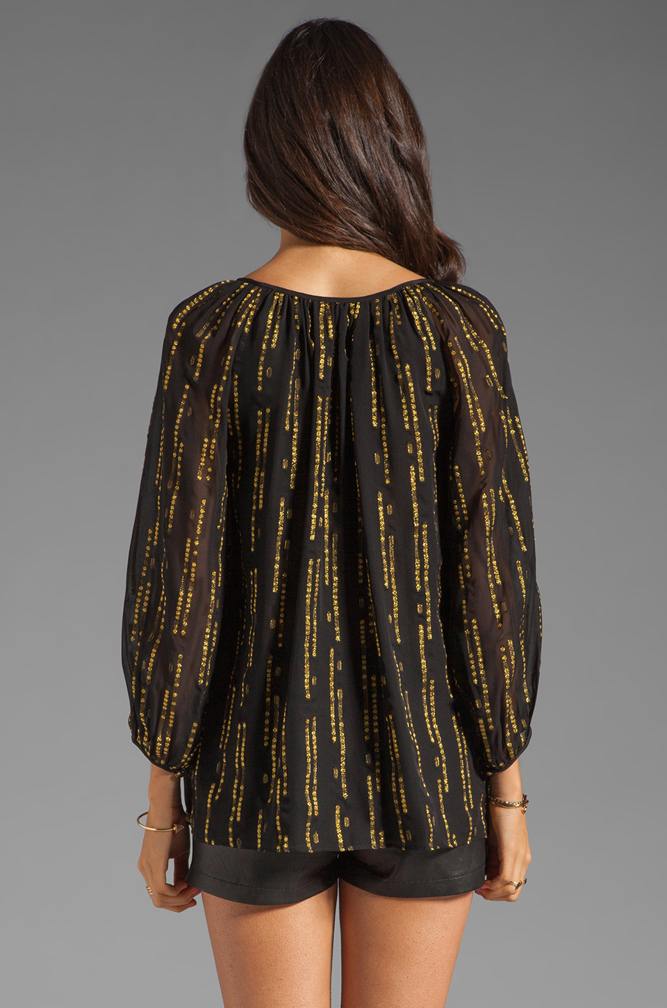 Shoshanna Brookline Lurex Chiffon Renee Blouse in Black/Gold