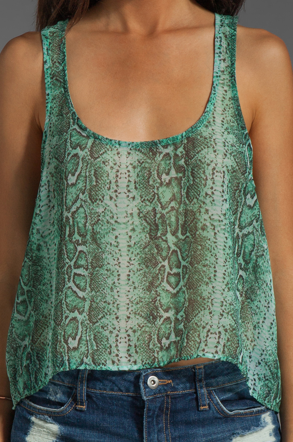 Show Me Your Mumu Maddy Top in Turquoise Python