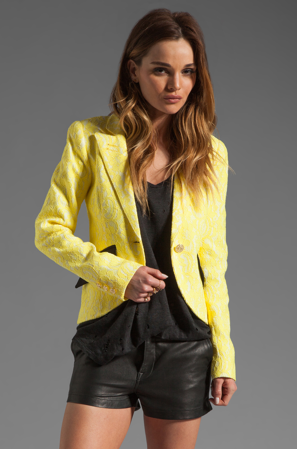 Smythe Lace Blazer in Yellow at Revolve Clothing