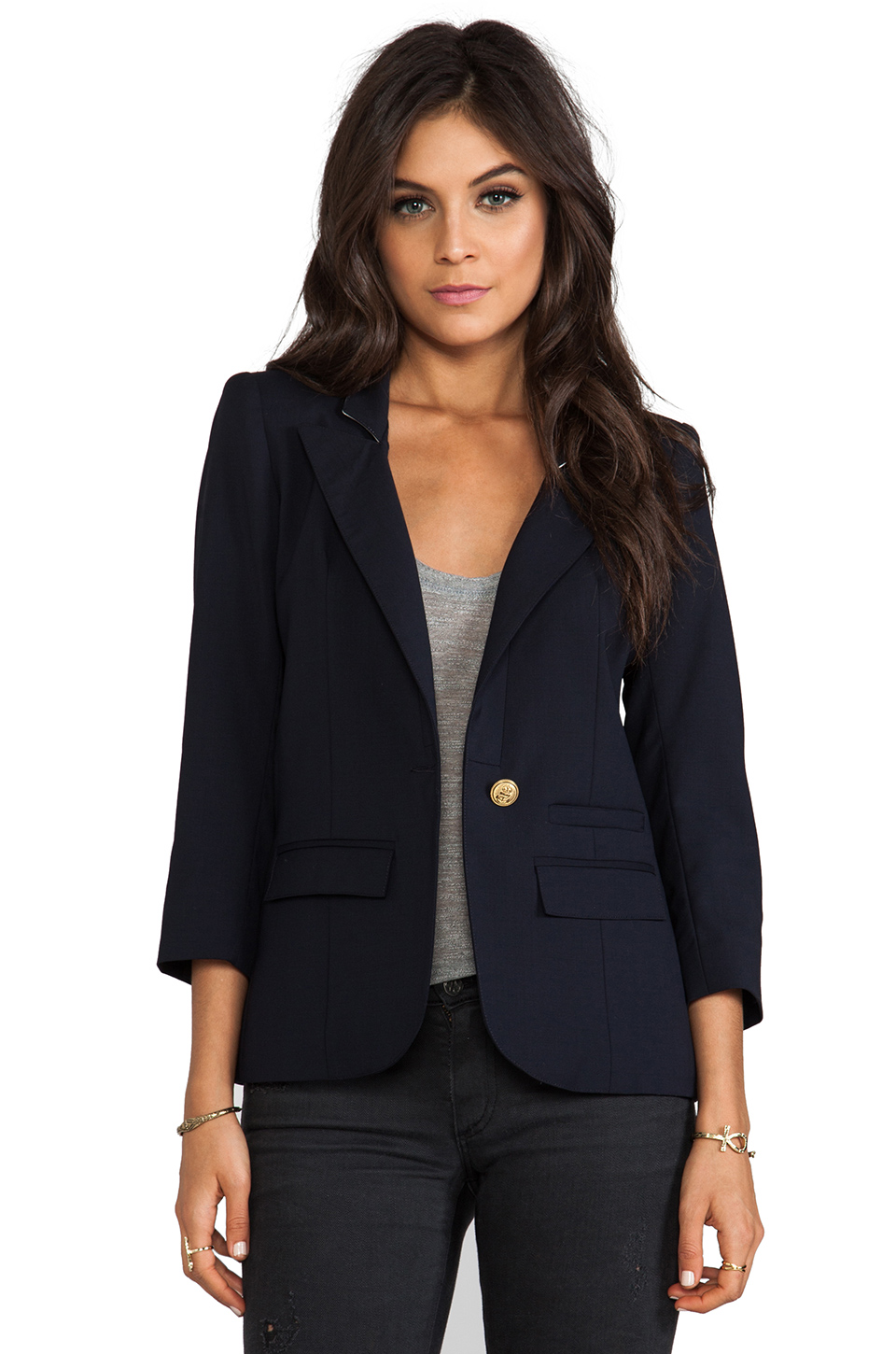 Smythe Flat Lapel Blazer in Navy at Revolve Clothing