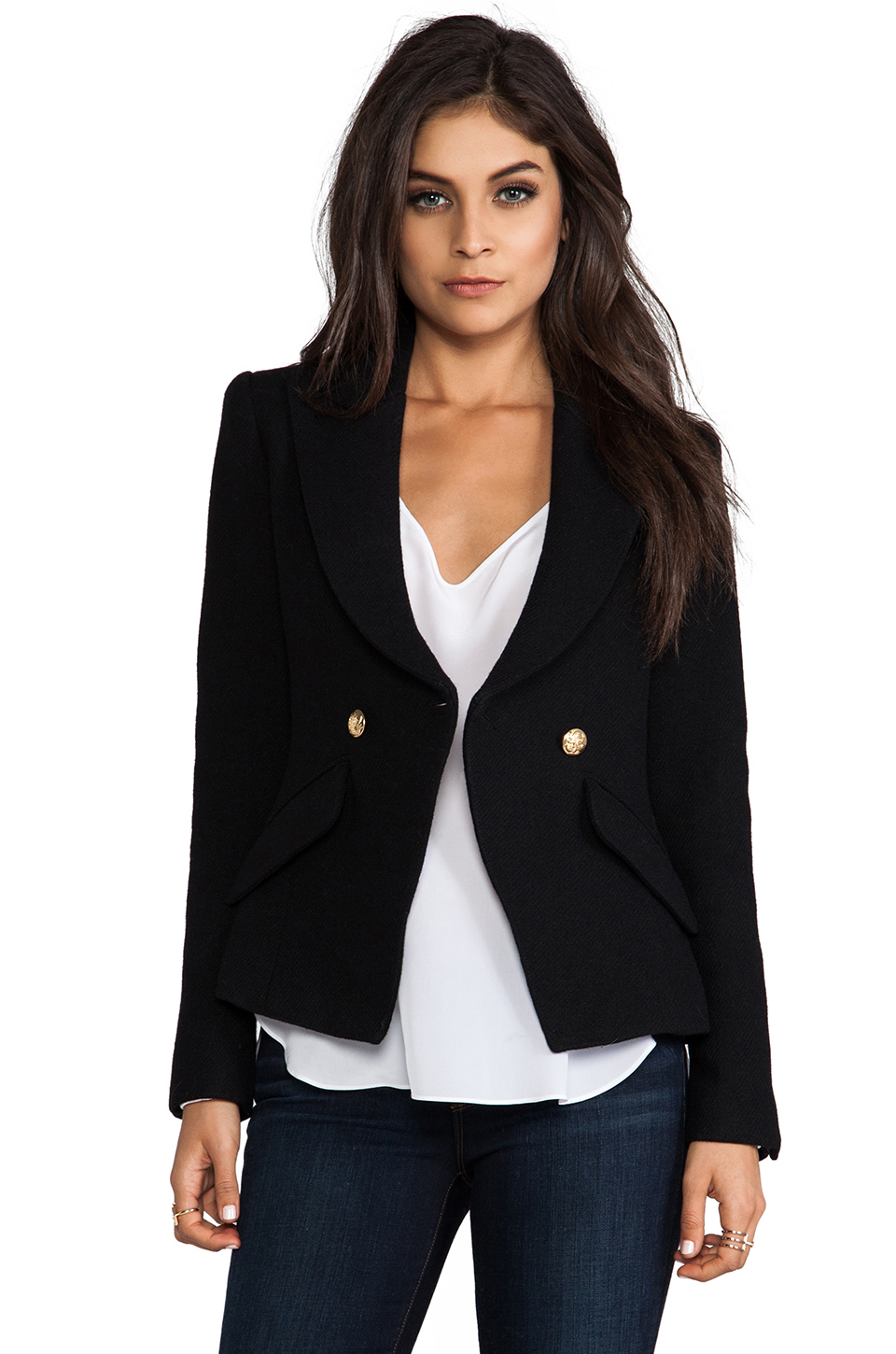 Smythe Crossover Blazer in Black at Revolve Clothing